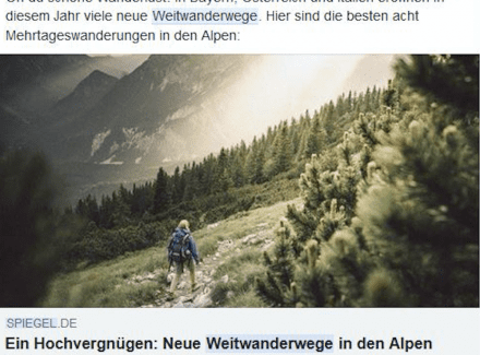 Artikel Screenshot: Neue Weitwanderwege in den Alpen