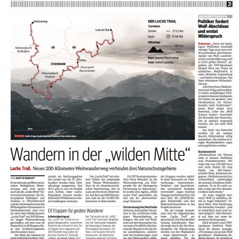 Artikel Screenshot: Wandern in der wilden Mitte