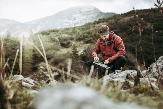 Rasten am Berg auf Etappe 11