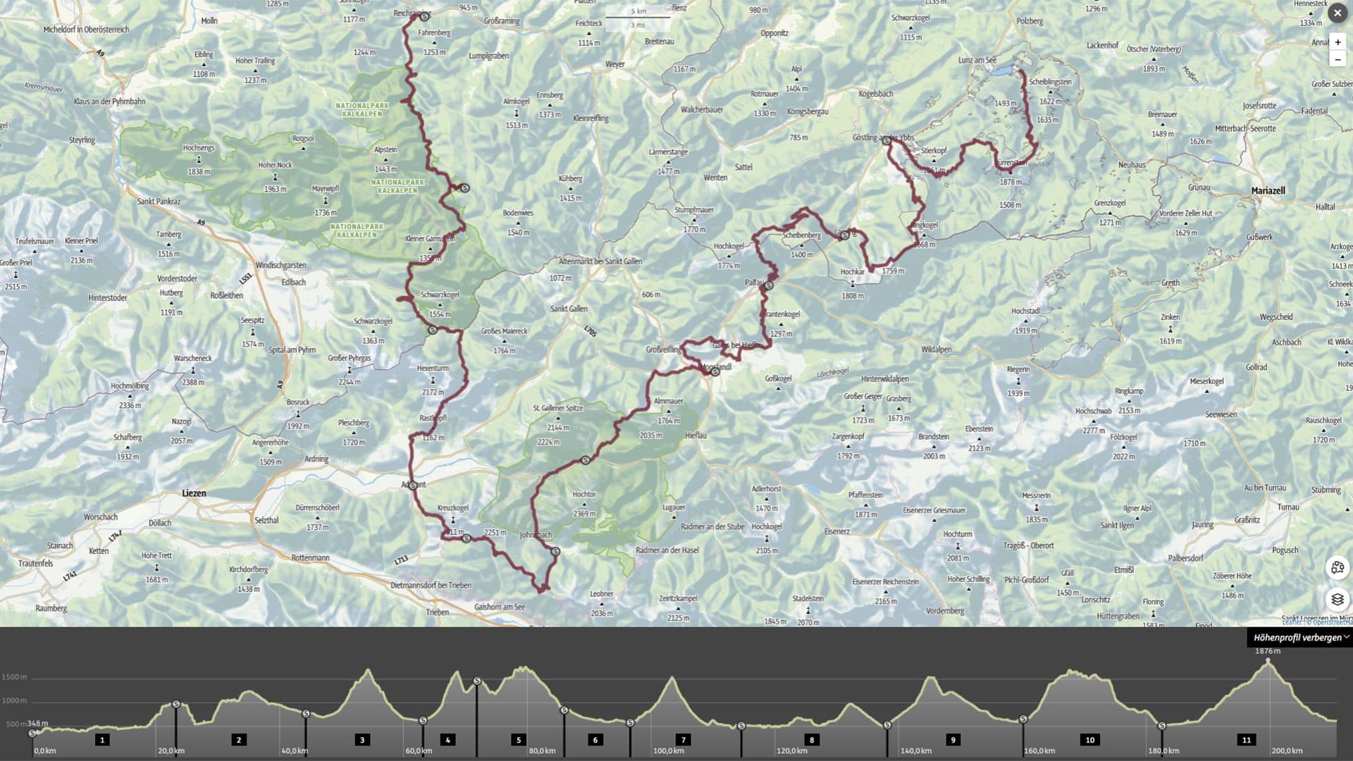 Kartenansicht des Pfades mit Höhenmeterübersicht