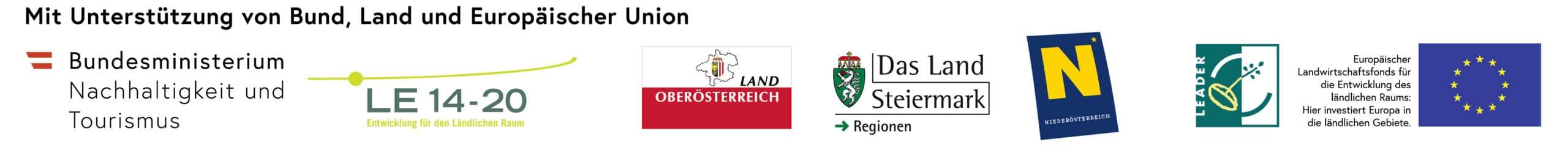 Logoleiste mit den Unterstützern: Bundesministerium, LE 14-20, Land Steiermark, Leader und EU